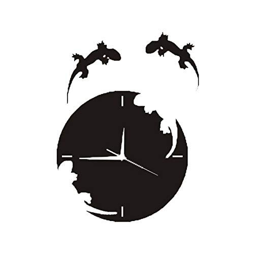 hufeng Wanduhr Kreative Acryl Spiegel Fledermaus Wanduhr Home Decor Wohnzimmer Wanduhr Eidechse Fledermaus Schädel Wanduhr (Lizard)