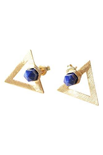 Pendientes Triangulo Oro Azul para Mujer - Pendientes de Diseño Geométrico Lapislázuli - Triángulo Azul Marino - Pendientes Boho/Hippie