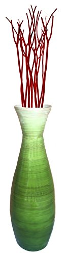 "24"" Tall Bamboo Floor Vase, Glossy Green"