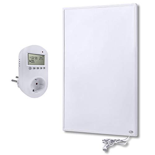 Aufun Infrarot Heizung Wand Panel 800W mit Thermostat Infrarotheizung mit Überhitzungsschutz Stecker für Steckdose ✓ GS TÜV ✓ Kohlekristallheizung, 620x1020x15 mm Weiß, für 10-18m² Zimmer