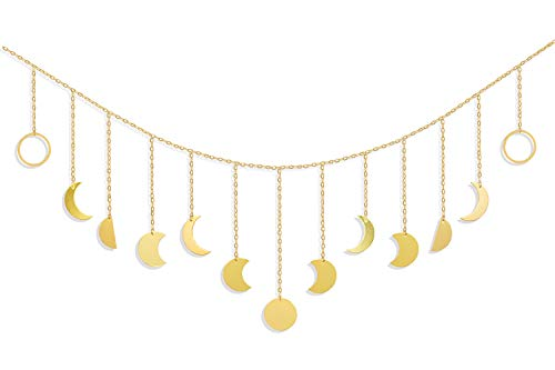 Moon Phase Decor Wall Hanging - Gold Moon Cycle Banner - Wall Art Garland with Chains Boho Wall Decor for Bedroom Headboard Living Room Apartment Dorm Nursery Room Office Home Decorations