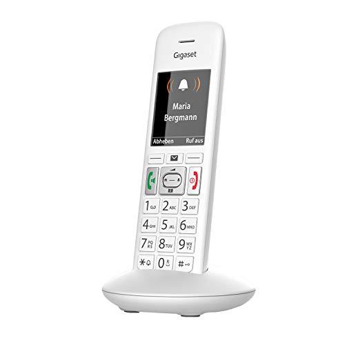 Gigaset E370HX - Schnurloses Seniorentelefon zum Anschluss an vorhandene DECT-Basis - Mobilteil mit Ladeschale - Notruf an 4 Rufnummern - Funktion für extra lautes Hören, Weiß