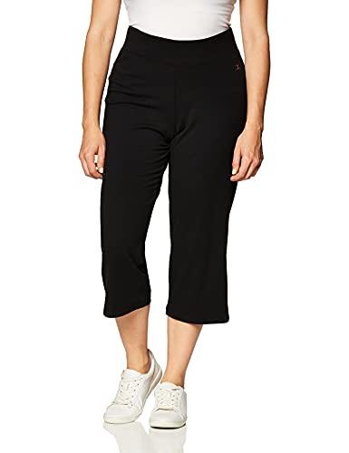 Danskin Women's Sleek Fit Yoga Crop Pant, Black, X-Large