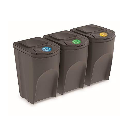 Prosperplast Juego de 3 Cubos de Reciclaje 105L Sortibox de plastico en Color Gris, Grandes