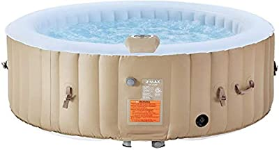 U-MAX Inflatable Hot Tub Portable SPA Blow Up Hot Tub with Built in Heater and Bubble Function 2-4/4-6 People