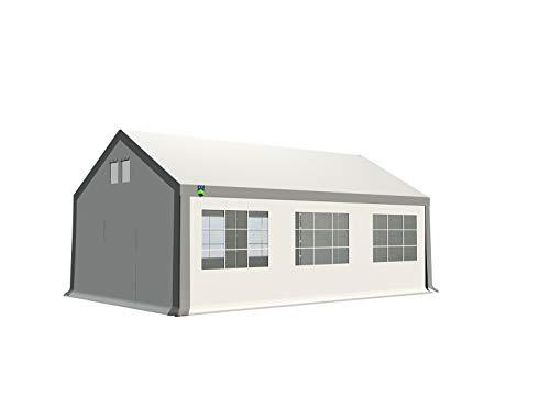 KC Partyzelt 4x6 m Pavillon Zelt 500g/m² - PVC Plane - Gartenzelt Festzelt Bierzelt - Rahmen aus Stahl - Inkl. Seitenwände & Giebelwände - Grau