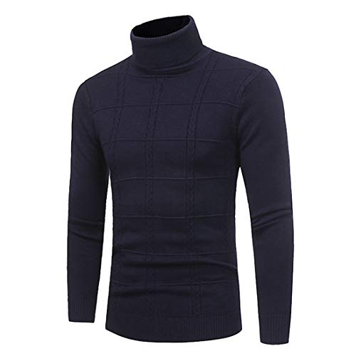 XWLY Men Sweater Men Knitted Sweater High Neck Solid Color Simple Elegant Classic Long-Sleeved Spring and Autumn Fashion Slim Fit Comfortable Men Tops Blue. XL