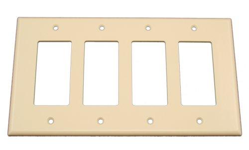 Leviton 80612-T 4-Gang Decora/GFCI Device Wallplate, Midway Size, Thermoset, Device Mount, Light Almond
