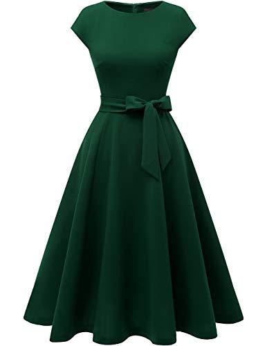 DRESSTELLS Midi 1950er Vintage Retro Rockabilly Kleid Damen elegant Hochzeit Cocktailkleid DarkGreen L