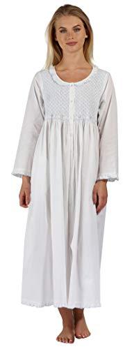 The 1 for U Elsa Nightgown - Housecoat - Robe 100% Cotton - XS-3XL (XXL, White - Blue Smocking)