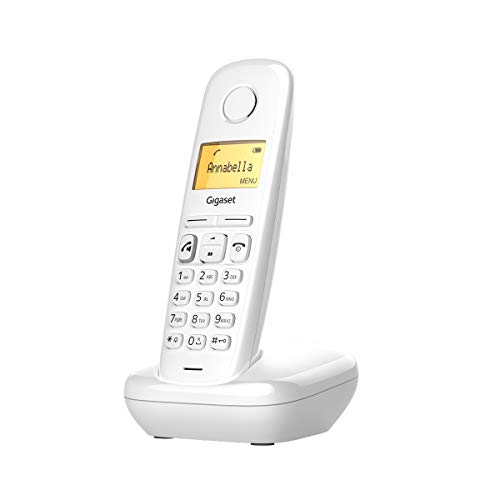 Gigaset A270 - Teléfono inalámbrico manos libres, gran pantalla iluminada, agenda 80 contactos, color blanco