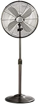 GOFLAME 16  Pedestal Fan Height Adjustable Oscillating Standing Fan with 3 Speed Settings Powerful and Quiet Wide Spread Metal Fan for Home & Office  Black