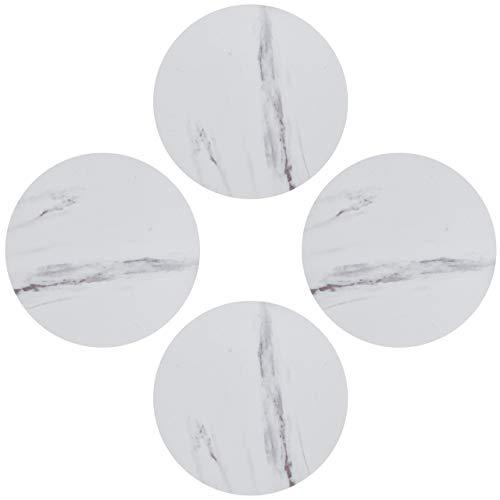 DMFSHI Sottobicchiere, Sottobicchiere Set of 4, Set di Tappetini per Tazze Rotondi in Marmo in PVC per Tazza, Decorazione della Casa e della Cucina, Isolamento Termico e Antiscivolo (Bianco)