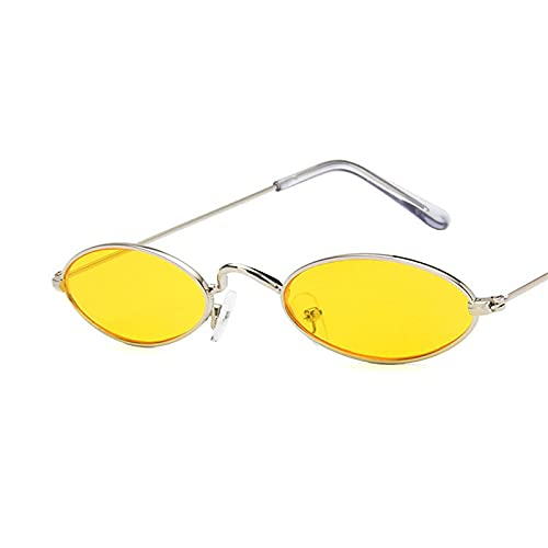 Astemdhj Gafas de Sol Sunglasses Gafas De Sol Ovaladas De Montura Pequeña para Mujer, Diseñador De Marca, Lente Oceánica, Gafas De Espejo, Aleación, Fiesta, Uv400, PlataAnti-UV