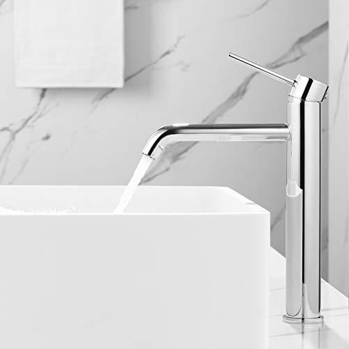 Faulkatze Rubinetto Bagno Lavabo Miscelatore per Lavabo Bagno miscelatore monocomando per lavabo Rubinetto Lavabo Alto Acqua Fredda e Calda acciaio INOX, cromato