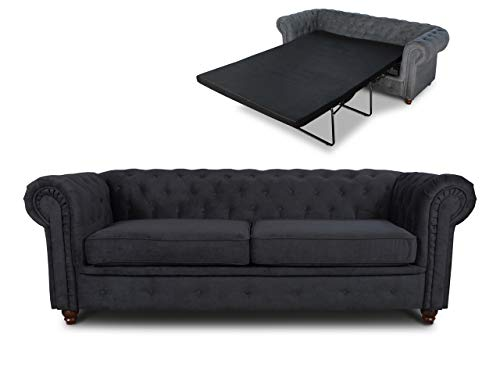 Schlafsofa Chesterfield Asti Bis 3-Sitzer, Sofa mit Schlaffunktion, Couch 3-er, Couchgarnitur, Sofagarnitur, Holzfüße, Polstersofa (Schwarz (Capri 19))