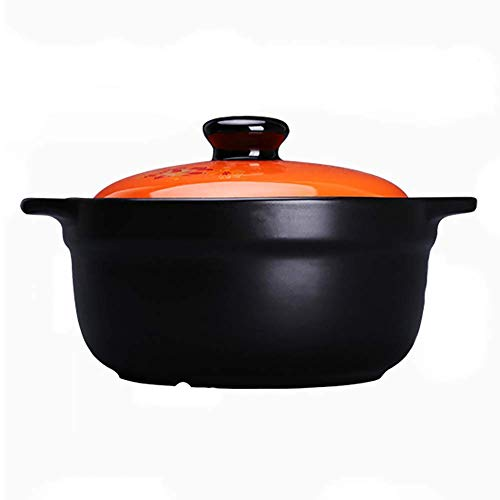 TELLMNZ Cocotte Ronde antiadhésive sans Danger pour Les gaz avec Couvercle, cocotte en céramique résistante à la Chaleur, Casserole à ragoût de Soupe de santé Domestique Orange 4,5 litres