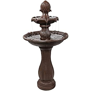 Sunnydaze 2-Tier Pineapple Solar Water Fountain with Battery Backup - Outdoor Garden and Patio Water Feature with Rechargeable Solar Battery - 46-Inch - Rust Finish
