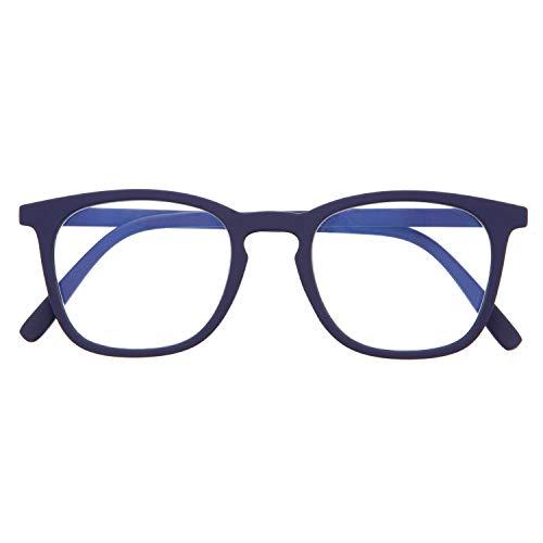 DIDINSKY Blaulichtfilter Brille für Damen und Herren. Blaufilter Brille mit stärke oder ohne sehstärke für Gaming oder Pc. Gummi-Touch-Tempel und Blendschutzgläser. Indigo +1.0 – TATE