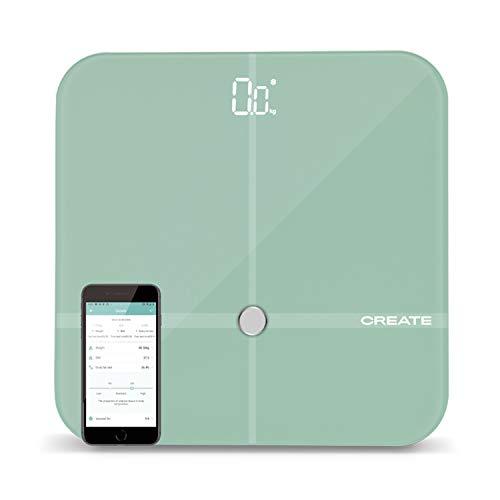 IKOHS BALANCE BODY SMART - Báscula de baño de bioimpedancia con App, Bluetooth, Android/IOS, Sensores, Display Led, Diseño Ligero y Plano, Cristal Templado, Biometría de hasta 24 usuarios (Verde) ⭐