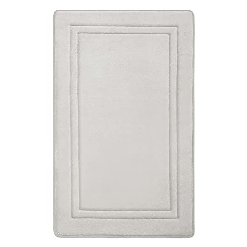MICRODRY Quick Drying Memory Foam Framed Bath Mat with GripTex Skid-Resistant Base, 21x34, Chrome