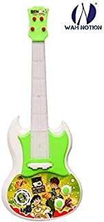 WAH NOTION Guitar Toy for Kids , 17 Inches, Battery Operated with Music and Lights, Green , Ben Ten Theme