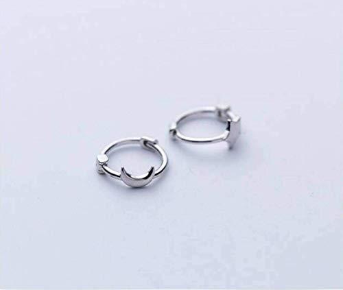 D-H Eenvoudig en Creatief S925 Zilveren oorgesp Vrouwelijke Asymmetrische Ster Maan Korte oor Ring Leuke Oorbellen, Goud & Amp;Rose