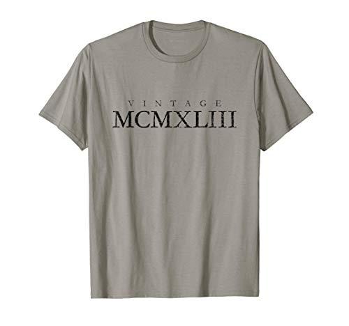Vintage MCMXLIII (Nero Antico) Annata 1943 78° Compleanno Maglietta