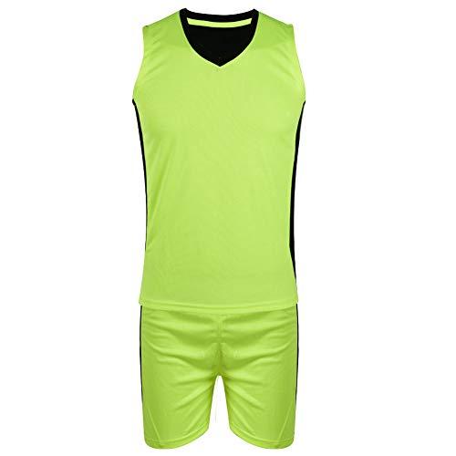 TAKE FANS Niños Niños Deporte Jerseys Equipo Baloncesto Jersey V-cuello sin mangas Traje (verde y negro)