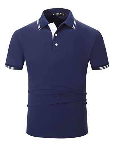 Kuson Herren Poloshirt Kurzarm Polo Shirts Polohemden mit Streifen, Navy Blau, S