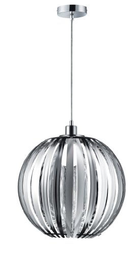 Trio Leuchten Lampada a sospensione in metallo cromato, Bastoncini in acrilico trasparente, con 1X E27max. 60W, Ø 40cm, altezza: 150cm 304100100
