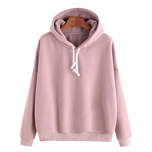 Damen Bekleidung, Pullover Fleece Women, Dress Tops & Shirts für Damen, Rosa, M, Women Ladies Solid Long Sleeve Casual Hooded Sweatshirt Pullover Top Blouse