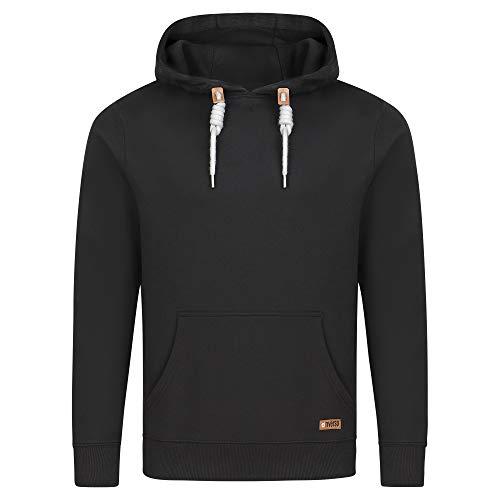 riverso Herren Kapuzenpullover RIVLuca Hoodie Sweatshirt Pullover Kapuze Kängurutaschen Regular Fit Einfarbig Baumwolle Schwarz 4XL, Größe:4XL, Farbe:Black (24000)