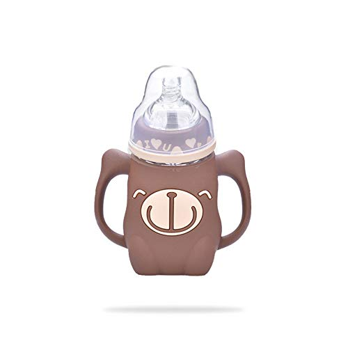 SPAWX Babyflasche Glasmaterial Antiverbrühungsgriff Auslaufsicheres Design Muttermilchflasche Kinder-Wasserbecher Geeignet für Kinder 240 ml,Brown