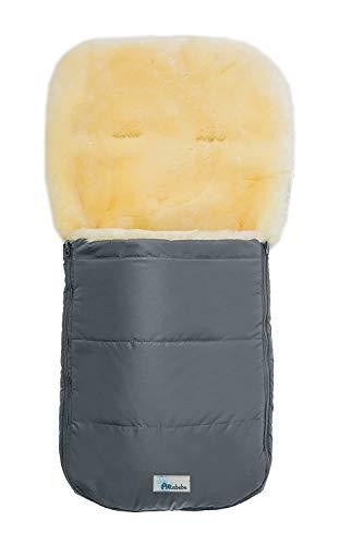 Set Altabebe MT2200LP Lammfellfußsack Nordkap & Windel Blaubaer, Baby Winterfußsack 9-36kg, Fußsack für Kinderwagen Buggy Babyschale, Fußsack mit echten Lammfell, Design:dunkelgrau