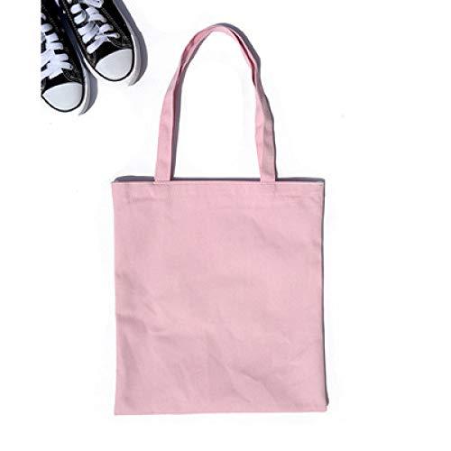 SDCVRE Bolsa de la Compra,Multicolor Women Men Handbags Canvas Tote Bags Reusable Cotton Grocery Zippered Shopping Bag Eco Foldable,Light Pink