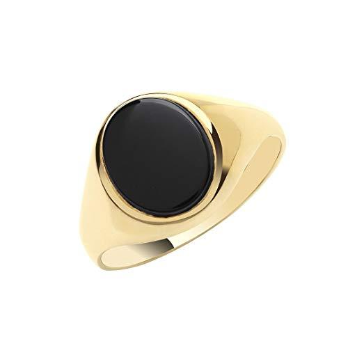 Original 9ct Oro Amarillo Hombre Ovalada Negra Onix Liso Lados Anillo con Sello Nuevo