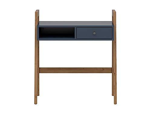 Boardd - Tocador con cajón y compartimento abierto para escritorio, mesa de escritorio, maquillaje para dormitorio, vestidor, pasillo Sibiu, alerce dorado, decoración azul marino, 85,6 x 95 x 48 cm