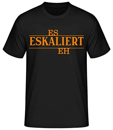 Shirtinator Männer Basic T-Shirt | Es Eskaliert Eh | Geschenke Lustig (Schwarz, XL)