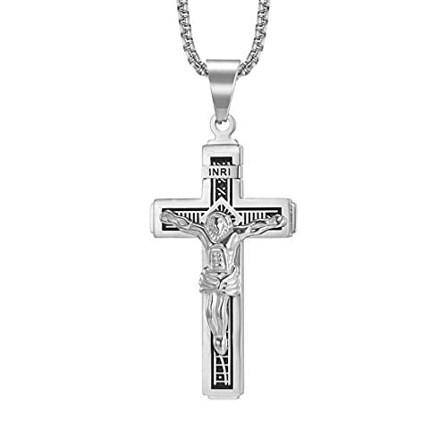 USUASI - Collar con colgante de cruz de Jesucristo católico en INRI, color dorado y plateado de acero inoxidable, cadena de 55,8 cm