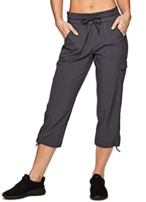 RBX Active Women's Cargo Lightweight Woven Capri Pant S19 Charcoal M