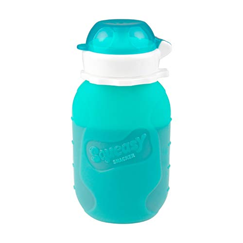 Product Image of the Aqua 6 oz Squeasy Snacker Spill Proof Silicone Reusable Food Pouch - for Both...
