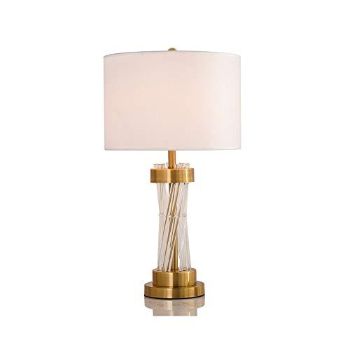 WZHZJ Lámpara de Mesa de Tela metálica con Columna de Cristal, decoración Elegante para Sala de Estar, lámpara de pie para Dormitorio, lámpara de cabecera led