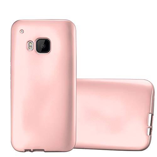 Cadorabo Hülle für HTC One M9 - Hülle in METALLIC Rose Gold – Handyhülle aus TPU Silikon im Matt Metallic Design - Silikonhülle Schutzhülle Ultra Slim Soft Back Cover Case Bumper