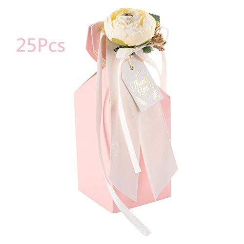 Vaas vorm snoep doos bruiloftscadeau chocolade cadeau dozen voor bruiloft verjaardag partij favorieten met bloem lint roze