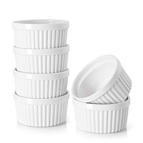 DOWAN 10 oz Ramekins - Ramekins for Creme Brulee, Porcelain Ramekins Oven Safe, Classic Style Ramekins for Baking, Souffle Ramekins Ramekins Bowls, Set of 6, White