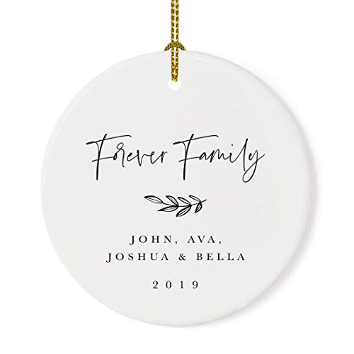 Andaz Press Personalized Adoption Round Ceramic Porcelain Christmas Tree Ornament Keepsake Collectible Gift, Forever Family, John Ava Joshua & Olivia 2020 Antique Handdrawn, 1-Pack