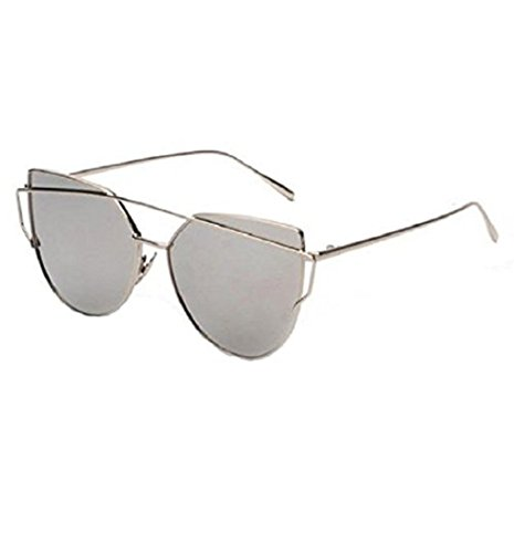 Yistu Twin-Träger klassische Frauen Metallrahmen Spiegel Sonnenbrille Cat Eye Brillenmode (silber)