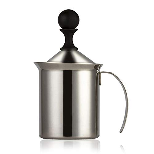 Montalatte Manuale, 200ml Acciaio Inossidabile Palmare Montalatte a Doppia Parete Schiuma Mixer per Caffè, Latte, Caldo Al Cioccolato Cappuccino Foamer Crema