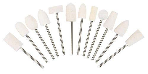 PROFICO 12 Teilig Filzpolierer Set Ersatzaufsätze   Schleifkörperset für Maniküre Pediküre Nagelpflege   Nagelschleifer Bits Kit
